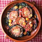 Williams Sonoma: Damaged Goods Gratin with tomatoes, eggplant and chard Vegan Dishes, Food Dishes, Main Dishes, Vegetable Side Dishes, Vegetable Recipes, Swiss Chard Recipes, Summer Tomato, Eggplant Recipes, Williams Sonoma