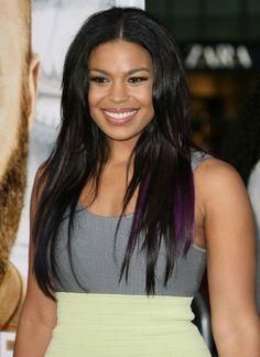 Jordan sparks purple hair streaks. I want some purple streaks in my hair.