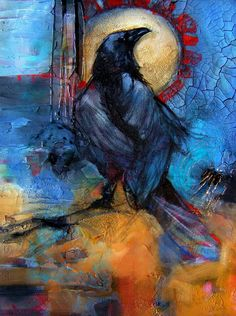Beautiful painting of crow with blue and orange background Crow Art, Raven Art, Bird Art, Blue Raven, Choucas Des Tours, Crow Painting, Crows Ravens, Wildlife Art, Animal Paintings
