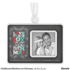 Shop Chalkboard Mistletoe Vintage First Christmas Photo Ornament created by fat_fa_tin. Our First Christmas Ornament, First Christmas Photos, Photo Christmas Ornaments, 1st Christmas, Christmas Themes, Christmas Tree Decorations, Christmas Invitations, Ornaments Design, Personalized Note Cards