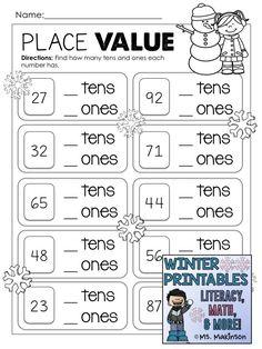 Place Value - Winter Printables Year 1 Maths Worksheets, Math Activities, Money Worksheets, Math Games, Teaching Math, Teaching Ideas, Class 1 Maths, Third Grade Math, Second Grade