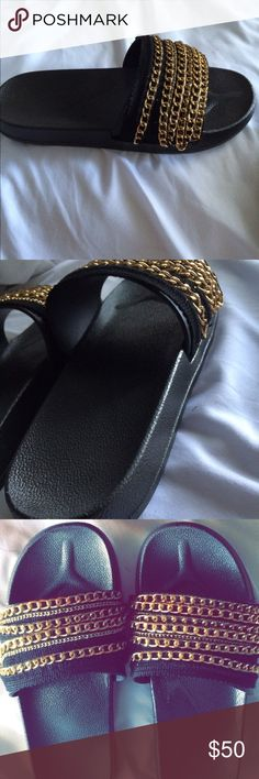 Fur Chain Slide Sandals DIY slides made by me. Size 9.5 but could fit a 10/10.5 (Not furry or from Nasty Gal, just in the title for exposure)                                                          (If interested but need a different size let me know!) Nasty Gal Shoes Sandals