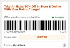 Kohls 30 OFF In Store and Online + Free Shipping. Take Extra 30% OFF Coupons when use Kohls Charge + Free Shipping Use GIFT30 Coupon Code when Checkout and DECMVCFREE for Free Shipping #kohls #kohls30 #kohls30offcouponcode #kohlsinstorecoupons #kohls30offdecember #kohlsfreeshipping Free Printable Coupons, Free Coupons, Store Coupons, Simply Vera, Coupon Codes, How To Apply, Coding, Free Shipping, Holiday Desserts