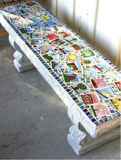 Celebrate the school's anniversary with this lovely art project. Create a memory bench for the playground and let the children decorate the tiles.