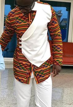 African men kente shirt Can be use for all Occasions top only Custom Request Available thank for visiting African Wear Styles For Men, African Shirts For Men, African Attire For Men, African Clothing For Men, African Style, Nigerian Men Fashion, Indian Men Fashion, African Print Fashion, Africa Fashion
