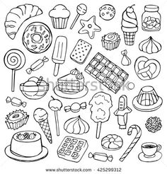 Find Sweets Hand Drawn Doodle Elements Vector stock images in HD and millions of other royalty-free stock photos, illustrations and vectors in the Shutterstock collection. Cute Doodles Drawings, Doodle Art Drawing, Cute Easy Drawings, Art Drawings Sketches Simple, Bullet Journal Art, Bullet Journal Themes, Candy Drawing, Food Doodles, Simple Doodles