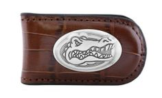 NCAA Florida Gators Tan Crocodile Leather Magnet Concho Money Clip, One Size by ZEP-PRO. $22.95. Decorative silver gun metal concho. 100 Percent genuine croco-pattern leather magnetic money clip. Attractively boxed to make the perfect gift. Assembled in the USA. Officially licensed NCAA team product. Carry your Florida Gators school and team spirit with you while keeping your cash safe. This tan genuine croco pattern leather magnetic money clip features a silver gun ...