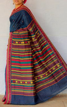 HandsOfIndia - Quality Handwoven, handcrafted and hand-embroidered apparels and furnishings / Orissa Koraput? Indian Attire, Indian Ethnic Wear, India Fashion, Asian Fashion, Indian Dresses, Indian Outfits, Indian Fabric, Elegant Saree, Embroidered Clothes