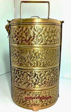 Brass Tiffin Vintage Thai Art Decor Food Storage Bento Lunch Collectible Antique