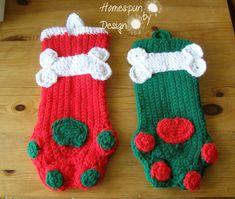 Dog Paws Crochet Christmas Stockings - https://www.etsy.com/transaction/103278405