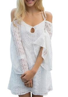 Off-The-Shoulder Crochet Swimwear Bikini Cover Up Beach Mini Dress