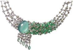 CARTIER Necklace - white gold, one oval-shaped cabochon-shaped cat's-eye green beryl, tsavorite garnets, yellow and white brilliant-cut diamonds. Cartier Necklace, Cartier Jewelry, High Jewelry, Luxury Jewelry, Jar Jewelry, Jewellery, Real Diamond Necklace, Diamond Necklaces, Bridal Jewelry