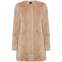 OASIS Longline Fur Coat (€95) ❤ liked on Polyvore featuring outerwear, coats, jackets, casacos, coats & jackets, natural, oasis coat, longline coat, beige coat and fur coat