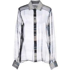 Maison Margiela 4 Shirt ($590) ❤ liked on Polyvore featuring tops, grey, animal print tops, animal print shirt, long sleeve chiffon top, print shirts and gray shirt