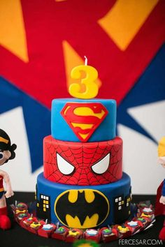 at a Superhero Party I need someone to make me a cake like this when the boys birthday comes around x Superhero Cake, Superhero Birthday Party, 4th Birthday Parties, Cake Birthday, Super Hero Birthday, Batman Party, 5th Birthday Ideas For Boys, Birthday Cake Kids Boys, Avengers Birthday