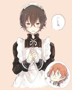 Dazai dressing up as maid Anime Boys, Manga Anime, Cute Anime Boy, Maid Outfit Anime, Anime Maid, Dazai Bungou Stray Dogs, Stray Dogs Anime, Neko, Dazai Osamu
