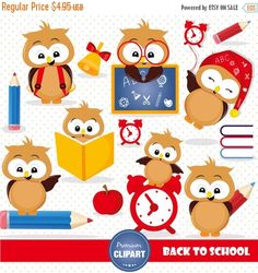 80% OFF SALE Back to school clipart, Owl clipart, school clipart, digital clipart commercial use - CA455 by PremiumClipart on Etsy https://www.etsy.com/uk/listing/467675083/80-off-sale-back-to-school-clipart-owl