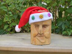 Santa Holiday Carving Wood Spirit Hand Carved by NorthWindCarvings