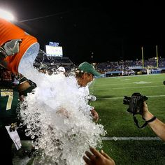 Win a trophy, get a Gatorade shower. Thank you to Coach Art Briles for an amazing season, to Baylor Nation for your support, and to the North Carolina Tar Heels for an incredible game!! #SicEm