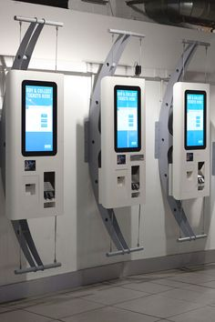24 inch ATM's designed for Odeon including touchscreen, chip and pin and receipt printer for ticket collection. These units can be hung from a wall mount, a floor mount or incorporated into a totem style stand. Designed and manufactured by 10 Squared. Kiosk Design, Retail Design, Digital Signage, Information Kiosk, Self Service, Pop Display, Home Network, Vending Machine, Machine Design