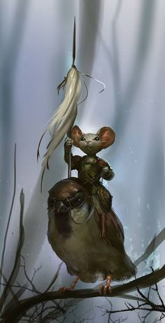 I just had to pin this!!  Looks like a scene from Redwall that I remember reading to my brothers!!!  Matthias and Warbeak!!: