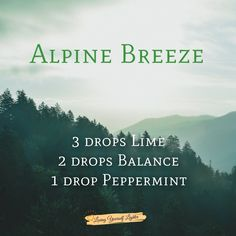 DoTerra diffuser blend. Lime, Balance and Peppermint. Relaxing, calming, woodsy, deep breath, icy. #doterra #essentialoils #alpine #relax #diffuserblend