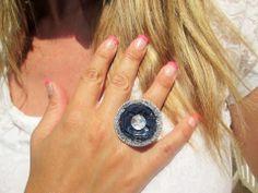 Bague femme réglable capsule de café bleu nuit, paillettes & strass : Bague par perles-de-filles