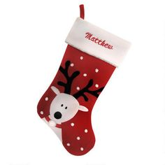 Personalized Reindeer Velvet and Fleece Stocking