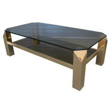 Vintage Faceted Corner Brass and Glass Two Tiered Coffee Table