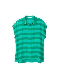 EQUIPMENT Leandra Emerald Stripe | Sleeveless Shirt