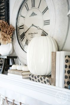 NEUTRAL FALL MANTEL-Creating a neutral and white fall mantel celebrating the…