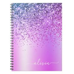 Purple Glitter Sparkle Glam Metal Monogram Name Notebook country wedding, wedding pages, architects wedding #weddingday #weddingplanner #weddingideas, christmas decorations, thanksgiving games for family fun, diy christmas decorations