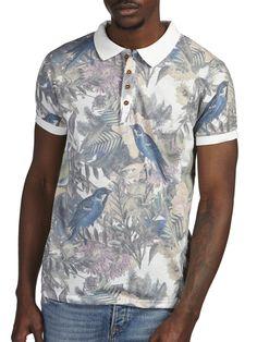 Solid Bird Print Polo Shirt*