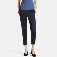 WOMEN SATIN ANKLE LENGTH PANTS, NAVY, medium