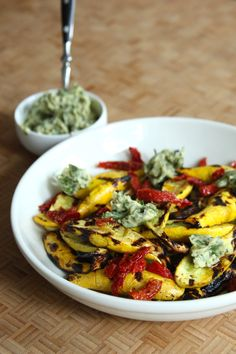 Grilled Summer Squash with Sun-Dried Tomatoes and Basil Ghee | Project Domestication