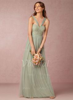 Brautjungfernkleider - $116.69 - A-Linie/Princess-Linie V-Ausschnitt Bodenlang Tüll Spitze Brautjungfernkleid mit Rüschen (0075092008)