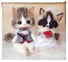 "Needle felted cats by Japanese artist ""Creamy"""