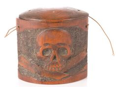 Antique hand carved wooden opium tobacco box with skull - $229.