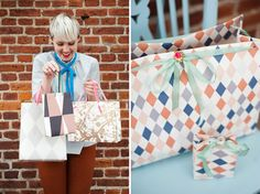 diy wallpaper gift bags via oh happy day