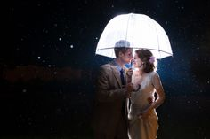 dreamy night time wedding portrait