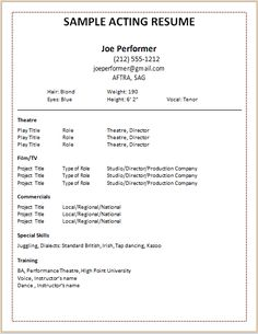Doctemplates Acting Resume Template Build Your Own Now Example Good With  Simple And Nice Within