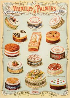 """Christmas Cards sold in the Victoria and Albert Museum, featuring an advertisement from Huntley & Palmer, Victorian Confectioners, displaying all of their Christmas Cakes. 15 cards, in one design, Seasons Greetings."""