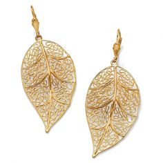 Palm Beach Jewelry Yellow Goldplated Brass Filigree Leaf Drop Earrings ($19) ❤ liked on Polyvore featuring jewelry, earrings, yellow, long earrings, beach jewelry, palm beach jewelry, long dangle earrings and clasp earrings