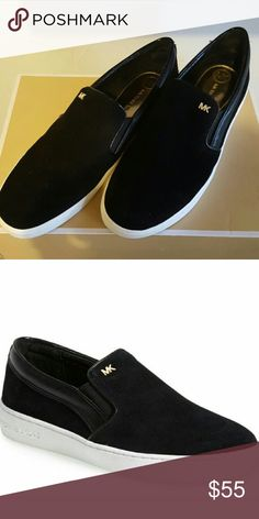 Micheal Kors Keaton in black suede Gently used. Still in mint condition. I have very narrow feet so they slip right out. It's a problem I have with many shoes. Your gain and my loss MICHAEL Michael Kors Shoes Sneakers