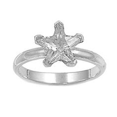 Women's Teens Solitaire Star Shape Clear Cubic Zirconia Ring Friendship Band