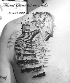 Back Tattoo '' tattoo artist by Murat GÜREL '' manisa dövme Verse Tattoos, Dad Tattoos, Tattoos For Guys, Rip Tattoo, Back Tattoo, Arm Sleeve Tattoos, Chest Tattoo, Stairs To Heaven Tattoo, Heaven Tattoos