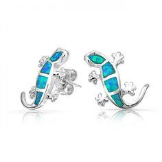 Lizard Gecko Blue Opal Stud Earrings Hawaiian Jewelry Sterling Silver