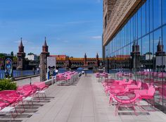 ღღ Berlin, Germany ~~~ Terrace at the nHow Berlin Hotel. Oberbaumbrücke in the background