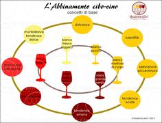 Abbinamento cibo-vino-Non è sempre facile creare il giusto abbinamento tra vini e pietanze. Tuttavia l'esperienza che si è maturata cercando di analizzare l'interazione tra le diverse percezioni sensoriali che contraddistinguono la degustazione di vini e cibi ci permette di fare alcune considerazioni. Innanzitutto nel valutare gli