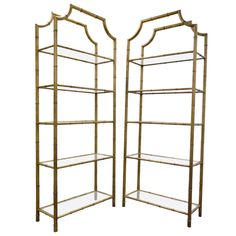 Pair Of Hollywood Regency Faux Bamboo Gilt Metal Tole Pagoda Etageres |  From A Unique Collection
